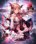 1girl :d artist_request bat brown_hair cygames earrings eyebrows_visible_through_hair fang flower frilled_skirt frills hair_ornament hand_to_own_face head_wings high_heels jewelry long_hair looking_at_viewer official_art one_eye_closed open_mouth pointy_ears red_eyes rose shadowverse shingeki_no_bahamut skirt smile solo thorns vampire vampy