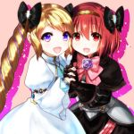 2girls armor blonde_hair blush cosplay dress elbow_gloves elise_(fire_emblem_if) elise_(fire_emblem_if)_(cosplay) fire_emblem fire_emblem:_monshou_no_nazo fire_emblem_if gloves hair_ribbon hairband headband highres lazulia long_hair looking_at_viewer maria_(fire_emblem) multiple_girls open_mouth red_eyes redhead ribbon short_hair simple_background smile violet_eyes