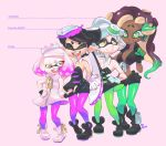 +_+ 3d_rod! 4girls aori_(splatoon) bare_shoulders boots breasts cephalopod_eyes character_name cleavage closed_eyes dark_skin detached_collar earrings fangs fingerless_gloves gloves headphones height_chart height_difference highres hime_(splatoon) hotaru_(splatoon) iida_(splatoon) jewelry mole mole_under_eye mole_under_mouth multiple_girls open_mouth pointy_ears smile splatoon splatoon_2 symbol-shaped_pupils tentacle tentacle_hair white_gloves zipper zipper_pull_tab