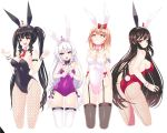 4girls absurdres ahoge animal_ears ass bangs bare_shoulders black_hair black_legwear black_leotard black_ribbon blonde_hair blue_eyes bow breasts brown_eyes bunny_tail bunnysuit choker collarbone detached_collar fake_animal_ears fake_tail fishnet_legwear fishnet_pantyhose fishnets garter_straps gloves hair_bow haru_estia highres iris_yuma korean_commentary large_breasts leotard lily_bloomerchen lingerie long_hair medium_breasts multiple_girls necktie pantyhose pink_leotard purple_leotard rabbit_ears reason_(ficafe) red_eyes red_legwear red_neckwear ribbon ribbon_choker shiny shiny_skin short_hair sidelocks silver_hair simple_background small_breasts soul_worker stella_unibell strapless strapless_leotard tail thigh-highs tiara tied_hair twintails underwear very_long_hair white_background white_gloves white_legwear wrist_cuffs yellow_eyes