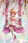 1girl antenna_hair back_bow blonde_hair boots card_captor_sakura cherry_blossoms choker collarbone day dress eyebrows_visible_through_hair flower full_body gloves green_eyes hair_ornament heavenlove highres holding holding_flower jewelry kinomoto_sakura layered_dress looking_at_viewer necklace outdoors pink_flower short_hair sidelocks sitting sleeveless sleeveless_dress smile solo transparent_bow white_footwear white_gloves