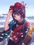 1girl black_hair blue_eyes blue_sky boat fate/grand_order fate_(series) hair_ornament highres japanese_clothes kafkasea katsushika_hokusai_(fate/grand_order) kimono mountain obi sash sky tree watercraft waves