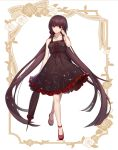 1girl absurdly_long_hair absurdres alternate_costume bangs bare_legs black_hair blunt_bangs constellation_print danganronpa dress full_body hair_ornament hair_scrunchie harukawa_maki highres holding holding_umbrella ihsara10 long_hair looking_at_viewer mole mole_under_eye new_danganronpa_v3 scrunchie starry_sky_print umbrella very_long_hair