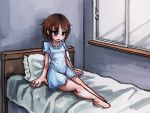 bed big_hands blue_dress brown_hair pillow purple_eyes ray-k tagme wide_hips