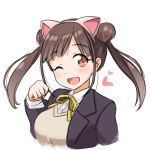 1girl animal_ears black_jacket blush cat_ears cropped_torso eyebrows_visible_through_hair fake_animal_ears hair_bun hairband head_tilt heart idolmaster idolmaster_shiny_colors jacket kibihimi long_hair long_sleeves looking_at_viewer neck_ribbon open_clothes open_jacket orange_eyes paw_pose ribbon school_uniform simple_background solo sonoda_chiyoko tareme twintails upper_body v-neck white_background white_hairband yellow_neckwear yellow_ribbon
