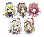 5girls :d :o akikaze_tsumuji anchor_hair_ornament apron atago_(kantai_collection) bangs beige_jacket beret black_gloves black_hakama black_legwear blonde_hair blue_eyes blue_hair blue_hat blue_jacket blue_legwear blue_skirt blush boots bow breasts brown_footwear brown_hair character_name chibi commandant_teste_(kantai_collection) commentary_request cross-laced_footwear dress eyebrows_visible_through_hair frilled_apron frills furisode gloves green_eyes hair_between_eyes hair_bow hair_ornament hair_ribbon hakama hakama_skirt hat hatakaze_(kantai_collection) holding jacket japanese_clothes kamikaze_(kantai_collection) kantai_collection kimono knee_boots lace-up_boots light_brown_hair long_hair long_sleeves maid_apron maid_headdress medium_breasts meiji_schoolgirl_uniform military military_jacket military_uniform mole mole_under_eye multicolored_hair multiple_girls open_mouth pantyhose parted_lips pink_hakama pleated_skirt ponytail purple_hair red_kimono red_ribbon redhead ribbon richelieu_(kantai_collection) ringlets scarf short_kimono skirt smile standing streaked_hair striped striped_scarf thigh-highs torpedo uniform very_long_hair violet_eyes wavy_hair white_apron white_background white_dress white_hair white_hat white_kimono white_legwear yellow_bow