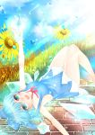 1girl :d absurdres arm_up ayatokiji bangs bare_arms bare_legs barefoot bent_knees blue_bow blue_dress blue_eyes blue_hair blue_sky blush bow breasts brick_floor cirno clouds cloudy_sky collarbone commentary_request day dress ear eyebrows_visible_through_hair eyelashes eyes_visible_through_hair fingernails flower frozen_flower grass hair_between_eyes hair_bow highres ice ice_wings knees_together_feet_apart knees_up large_breasts looking_at_viewer lying magic neck_ribbon no_bra no_shirt nose_blush on_back open_mouth outdoors outstretched_arms parted_lips pinafore_dress red_neckwear ribbon short_eyebrows short_hair sideboob sky smile solo summoning sunflower sunlight thighs touhou water water_drop wings