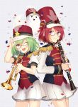 2girls ;d band_uniform braid chocolate_cosmos_(flower_knight_girl) clarinet confetti epaulettes flower_knight_girl food_themed_hair_ornament ghost glasses green_hair hair_ornament hat instrument knenj looking_at_viewer multiple_girls one_eye_closed open_mouth pepo_(flower_knight_girl) pumpkin_hair_ornament redhead short_hair simple_background skirt smile trumpet violet_eyes white_skirt
