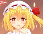 1girl bangs blonde_hair blush bow brown_background collared_shirt commentary_request eyebrows_visible_through_hair eyelashes finger_to_mouth fingernails flandre_scarlet frilled_shirt_collar frills hair_between_eyes hat hat_bow highres kuronekoron looking_at_viewer mob_cap open_mouth puffy_short_sleeves puffy_sleeves red_bow red_eyes shirt short_hair short_sleeves side_ponytail solo touhou upper_body white_hat white_shirt wrist_cuffs