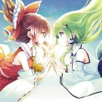 2girls blue_background blue_skirt bow brown_eyes brown_hair collared_shirt detached_sleeves eye_contact floating_hair frog_hair_ornament from_side green_eyes green_hair hair_bow hair_ornament hair_tubes hakurei_reimu hand_holding kochiya_sanae long_hair looking_at_another minamura_haruki multiple_girls profile red_bow red_skirt ribbon-trimmed_sleeves ribbon_trim sarashi shirt skirt skirt_set snake_hair_ornament touhou vest wing_collar yellow_neckwear