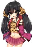 1girl :d absurdres animal_print backpack bag bangs bare_shoulders black_hair blush brown_camisole brown_eyes camisole collarbone commentary_request cowboy_shot eyebrows_visible_through_hair hair_between_eyes hair_ribbon head_tilt heart heart_necklace highres idolmaster idolmaster_cinderella_girls jacket leopard_print long_hair long_sleeves looking_at_viewer matoba_risa midriff navel open_clothes open_jacket open_mouth pink_jacket pink_skirt pleated_skirt print_camisole print_ribbon ribbon ricroot skirt smile solo twintails v-shaped_eyebrows very_long_hair