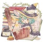 1girl :o ahoge aqua_hair black_cloak blush book book_stack bookmark bow brown_eyes commentary_request frilled_pillow frills green_bow hair_ornament hat hat_bow holding holding_book inkwell minigirl mokarooru open_book original pillow pointy_ears quill reading short_hair solo star tassel traditional_media watercolor_(medium) witch witch_hat x_hair_ornament