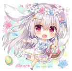1girl :d ameto_yuki animal_ears artist_name bangs basket blue_flower blush bracelet brown_footwear chibi commentary_request crescent crescent_hair_ornament dress easter_egg egg egg_hair_ornament eyebrows_visible_through_hair flower flower_wreath food_themed_hair_ornament full_body hair_between_eyes hair_ornament head_wreath heart jewelry long_hair looking_at_viewer open_mouth original petals pink_flower puffy_short_sleeves puffy_sleeves rabbit_ears red_eyes short_sleeves silver_hair smile socks solo standing standing_on_one_leg very_long_hair white_dress white_flower white_legwear