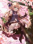 4girls :d arisa_(shadowverse) belt belt_pouch brown_footwear brown_legwear butterfly_wings cherry_blossoms day dress elbow_gloves fairy flower gloves green_dress green_eyes hair_flower hair_ornament hair_ribbon high_heels highres in_tree kneehighs long_hair multiple_girls nazuna_shizuku open_mouth outdoors pointy_ears red_legwear red_ribbon ribbon shadowverse sitting sitting_in_tree skirt smile tree very_long_hair white_skirt wings