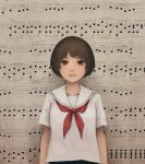 1girl accent_mark bangs beamed_eighth_notes beamed_sixteenth_notes brown_eyes brown_hair commentary dotted_eighth_note eighth_note eighth_rest grace_note looking_at_viewer musical_note natural_sign neckerchief original parted_lips quarter_note red_neckwear sailor_collar school_uniform serafuku sharp_sign shirt short_hair solo staccato staff_(music) upper_body white_sailor_collar white_shirt yajirushi_(chanoma)