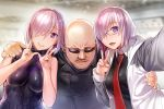 1boy 2girls :d armor armored_dress bald bare_shoulders black-framed_eyewear blurry blurry_background breasts closed_mouth dress dual_persona eyebrows_visible_through_hair eyes_visible_through_hair facial_hair facing_viewer fate/grand_order fate_(series) girl_sandwich glasses hair_over_one_eye hand_on_another's_shoulder hands_up impossible_clothes impossible_dress jacket large_breasts lavender_hair lips long_sleeves mafia_kajita mash_kyrielight medium_breasts multiple_girls mustache necktie nekomata_naomi open_clothes open_jacket open_mouth parted_lips raglan_sleeves real_life red_neckwear sandwiched shiny shiny_hair short_hair smile sparkle sunglasses upper_body v violet_eyes wing_collar