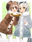 2girls :d :o background_text bird_tail black_hair blonde_hair blush brown_coat brown_eyes brown_hair coat cowboy_shot curry curry_rice eurasian_eagle_owl_(kemono_friends) eyebrows_visible_through_hair fang food green_background grey_coat highres holding holding_plate holding_spoon kemono_friends leaning_forward leg_up long_sleeves multicolored_hair multiple_girls northern_white-faced_owl_(kemono_friends) open_mouth orange_eyes outside_border pantyhose plate pocket rice round_eyewear short_hair short_twintails smile sparkle standing standing_on_one_leg steam streaked_hair tareme tomato_omurice_melon twintails v-shaped_eyebrows white_hair white_legwear