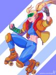1girl abs adapted_costume artist_name blonde_hair elbow_pads fingerless_gloves gloves hood hoodie kajin_(kajinman) knee_pads metroid midair midriff mole mole_under_mouth navel open_clothes open_hoodie pants parted_lips patreon_username ponytail roller_skates samus_aran skates smile solo stomach sunglasses tight tight_pants unzipped watermark web_address zipper
