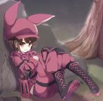 1girl absurdres animal_ears animal_hat bandanna black_footwear boots brown_hair bullpup bunny_hat commentary_request cross-laced_footwear fur-trimmed_gloves fur_trim gloves gun hat highres jacket lace-up_boots llenn_(sao) looking_at_viewer p-chan_(p-90) p90 pants pink_bandana pink_gloves pink_hat pink_jacket pink_pants rabbit_ears red_eyes shell_casing shirasu_youichi sitting solo submachine_gun sweatdrop sword_art_online sword_art_online_alternative:_gun_gale_online tree weapon