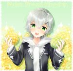 1girl blush bread eyebrows_visible_through_hair food game_club_project green_eyes grey_hair hair_ornament hairclip highres holding holding_food kazami_ryou looking_at_viewer melon_bread open_mouth rori_(tukiguri) short_hair smile solo twitter_username upper_body virtual_youtuber