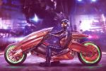 1boy 2girls akira art3mis assembling atari biker blurry blurry_background boots cable commentary construction_site crossover dirty eddie_holly epic face gloves glowing glowing_eyes grin ground_vehicle hangar hello_kitty hello_kitty_(character) helmet highres iron_giant_(mecha) lens_flare logo looking_at_viewer machinery mecha mmorpg motor_vehicle motorcycle multiple_girls pilot_suit ready_player_one realistic repairing robot samantha_cook science_fiction sega shiny signature size_difference smile spoilers sticker taito the_iron_giant video_game visor when_you_see_it workshop