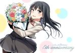 1girl :d anniversary asashio_(kantai_collection) bangs belt belt_buckle black_dress black_hair black_legwear blue_eyes blue_flower blue_rose blush bouquet buckle cowboy_shot dress flower holding holding_bouquet jacket kantai_collection leaf long_hair long_sleeves looking_at_viewer neck_ribbon open_mouth pantyhose pink_flower pink_rose rakisuto red_flower red_ribbon red_rose ribbon rose round_teeth smile solo standing teeth white_flower white_jacket white_rose yellow_flower yellow_rose
