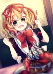 1girl absurdres alternate_eye_color blonde_hair blush chocolate_syrup doll drooling food fork frilled_shirt_collar frills fruit hair_ribbon highres holding holding_fork holding_knife hungry knife medicine_melancholy mutsumi326 pancake plate puffy_short_sleeves puffy_sleeves ribbon saliva short_sleeves strawberry touhou whipped_cream yellow_eyes