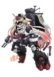 black_serafuku blonde_hair green_sclera gundam gundam_0083 gundam_gp-02_physalis hair_flaps hair_ornament hair_ribbon hairclip highres kantai_collection mayohi_neko mecha mecha_musume red_eyes red_neckwear ribbon school_uniform serafuku shield torpedo trait_connection turret yuudachi_(kantai_collection)