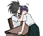 2girls black_hair boku_no_hero_academia closed_eyes earlobes high_ponytail jirou_kyouka kiss multiple_girls necktie ponytail purple_hair shirt short_hair short_sleeves single_sidelock sketch skirt u.a._school_uniform vvvmung white_background white_shirt yaoyorozu_momo yuri