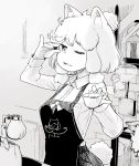 1girl :3 absurdres alpaca_ears alpaca_suri_(kemono_friends) alpaca_tail alternate_costume apron blonde_hair breast_pocket coffee coffee_beans collared_shirt commentary_request cup greyscale hair_over_one_eye hair_tubes hare_(tetterutei) highres kemono_friends long_sleeves monochrome one-piece_tan open_mouth pocket shirt short_hair solo steam tan tanline teacup
