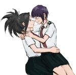 2girls black_hair boku_no_hero_academia earlobes grin high_ponytail jirou_kyouka multiple_girls necktie ponytail purple_hair shirt short_hair short_sleeves single_sidelock sketch skirt smile u.a._school_uniform vvvmung white_background white_shirt yaoyorozu_momo yuri
