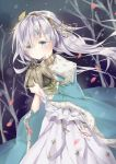 1girl anastasia_(fate/grand_order) bangs bare_tree blue_cloak blue_eyes blush closed_mouth commentary_request crown dress dutch_angle eyebrows_visible_through_hair fate/grand_order fate_(series) hair_between_eyes hair_ornament hairband holding leaf_hair_ornament long_hair looking_at_viewer mini_crown petals qlakwnd silver_hair solo tree very_long_hair white_dress