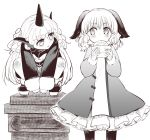2girls animal_ears baozi between_legs commentary_request curly_hair dog_ears dress eating eye_contact food geta greyscale hand_between_legs holding holding_food horn jacket kasodani_kyouko komano_aun long_hair long_sleeves looking_at_another medium_hair monochrome multiple_girls nibi oekaki shorts side_glance squatting standing touhou white_background