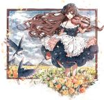 1girl :d apron artist_name bangs bare_shoulders bird bow_(instrument) braid breasts brown_hair clouds cloudy_sky collarbone dress frilled_apron frills full_body green_eyes hanakeda_(hanada_shiwo) headdress holding holding_instrument instrument long_hair looking_at_viewer medium_breasts mountain off-shoulder_dress off_shoulder open_mouth original petals picture_(object) picture_frame sky smile solo standing swept_bangs very_long_hair violin wind