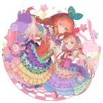 2girls :3 :d absurdres alternate_hairstyle bangs blonde_hair blouse blunt_bangs blush bodice bow bracelet braid breasts buttons candy_hair_ornament checkered checkered_floor circle closed_mouth cloud_print colorful commentary cross-laced_clothes daisy eyelashes eyes_visible_through_hair flower food_themed_hair_ornament foreshortening futaba_anzu green_bow green_legwear green_ribbon hair_bow hair_ornament hair_ribbon hairband hand_holding heart heart_hair_ornament height_difference highres idolmaster idolmaster_cinderella_girls jewelry kneeling kobayuu layered_clothing layered_skirt leaning_forward legs_apart long_hair looking_at_viewer low_twintails medium_breasts mismatched_legwear moroboshi_kirari multicolored multicolored_clothes multicolored_skirt multiple_girls neck_ribbon off_shoulder one_eye_closed open_mouth orange_eyes orange_hair outline outstretched_arm pink_footwear polka_dot polka_dot_bow polka_dot_skirt puffy_short_sleeves puffy_sleeves purple_bow purple_legwear red_bow red_ribbon ribbon shoes short_sleeves sidelocks skirt small_breasts smile spaghetti_strap star star-shaped_pupils star_print striped striped_bow striped_legwear striped_skirt stuffed_animal stuffed_bunny stuffed_horse stuffed_toy suspenders symbol-shaped_pupils thigh-highs twin_braids twintails unmoving_pattern very_long_hair wavy_hair white_background white_blouse yellow_eyes