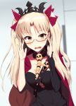1girl adjusting_eyewear bangs bespectacled black_cape blonde_hair blurry breasts cape commentary_request depth_of_field detached_collar ereshkigal_(fate/grand_order) fate/grand_order fate_(series) glasses highres kuroshiro_(ms-2420) long_hair looking_at_viewer medium_breasts multicolored multicolored_cape multicolored_clothes open_mouth parted_bangs red-framed_eyewear red_cape red_eyes semi-rimless_eyewear single_sleeve skull solo spine tiara two_side_up under-rim_eyewear upper_body wavy_mouth