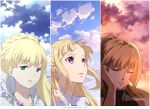 3girls absurdres aldnoah.zero asseylum_vers_allusia blonde_hair closed_eyes closed_mouth clouds cloudy_sky commentary_request day dress dusk green_eyes gundam gundam_tekketsu_no_orphans hair_bun half_updo highres jewelry kudelia_aina_bernstein long_hair morning multiple_girls necklace open_mouth ortfine_fredericka_von_eylstadt ponytail princess shou_xian_wu shuumatsu_no_izetta sky trait_connection violet_eyes white_dress
