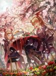 1boy 1girl :d black_legwear blue_eyes boots brown_hair cape closed_eyes day dress floating_hair flower from_below head_wings highres layered_dress legs_crossed lolita_fashion long_hair myuu1995 open_mouth outdoors parted_lips petals pink_flower pointy_ears red_wings shadowverse smile tree vampy veight wings