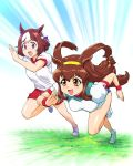 2girls animal_ears battle_athletes brown_eyes brown_hair commentary_request crossover gym_uniform hairband highres horse_ears horse_tail kanzaki_akari kemonomimi_mode long_hair low-tied_long_hair multicolored_hair multiple_girls open_mouth red_shorts running shirt short_hair shorts sidelocks special_week speed_lines tail two-tone_hair ueyama_michirou umamusume violet_eyes white_footwear white_shirt wristband
