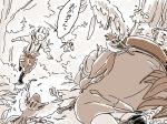 2girls bird comic eurasian_tree_sparrow fujiwara_no_mokou lying mitsumoto_jouji monochrome multiple_girls mystia_lorelei nature okamisty outdoors sepia sparrow touhou translation_request
