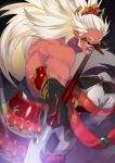 1boy armor attacking_viewer fangs highres japanese_armor long_hair male_focus mask open_mouth orange_eyes original pointy_ears polearm ponytail red_skin samurai10932 sideburns solo spear weapon white_hair yari