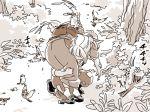 2girls bird bird_wings comic eurasian_tree_sparrow fireman's_carry fujiwara_no_mokou mitsumoto_jouji monochrome multiple_girls mystia_lorelei nature okamisty outdoors sepia sound_effects sparrow touhou unconscious wings