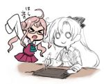 >:o >_< 2girls ahoge akigumo_(kantai_collection) color_drain commentary_request dress hair_bun kantai_collection long_hair long_sleeves makigumo_(kantai_collection) multiple_girls o_o pink_hair ponytail simple_background sleeveless sleeveless_dress smile stylus tablet terrajin translation_request white_background