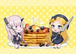 2girls abigail_williams_(fate/grand_order) bags_under_eyes bangs black_bow black_dress black_footwear black_hat blonde_hair blue_eyes blueberry blush bow bug butterfly chibi commentary_request dress fate/grand_order fate_(series) food forehead fork fruit gaota hair_bow hat heart holding holding_fork holding_knife horn insect knife lavinia_whateley_(fate/grand_order) long_hair long_sleeves multiple_girls orange_bow oversized_object pancake parted_bangs plate polka_dot polka_dot_background polka_dot_bow red_footwear sleeves_past_fingers sleeves_past_wrists stack_of_pancakes standing syrup upper_teeth very_long_hair violet_eyes yellow_background