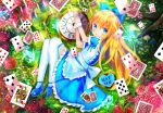 1girl alice_(wonderland) alice_in_wonderland animal apron bangs blonde_hair blue_bow blue_dress blue_eyes blue_footwear blush bow bug butterfly card club_(shape) commentary_request day diamond_(shape) dress eat_me eyebrows_visible_through_hair flower frilled_dress frilled_skirt frills from_above hair_between_eyes hair_bow heart highres insect key kohaku_muro long_hair looking_at_viewer looking_to_the_side looking_up lying maid_apron mary_janes on_side original outdoors parted_lips pink_flower pink_rose playing_card pocket_watch puffy_short_sleeves puffy_sleeves red_flower red_rose roman_numerals rose shoes short_sleeves skirt solo spade_(shape) sunlight thigh-highs very_long_hair watch white_apron white_legwear wrist_cuffs