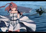 1girl belt black_gloves blouse blue_eyes breast_pocket breasts brown_hair dress f6f_hellcat fingerless_gloves flight_deck fuyube_gin_(huyube) gloves half_gloves kantai_collection large_breasts long_hair ocean official_style pocket red_legwear remodel_(kantai_collection) saratoga_(kantai_collection) shizuma_yoshinori_(style) short_sleeves side_ponytail single_glove smokestack_hair_ornament solo standing standing_on_liquid thigh-highs turret two-tone_dress white_blouse white_dress