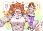1girl :d ahoge bear_slippers blush breasts closed_eyes commentary_request idolmaster idolmaster_cinderella_girls incoming_hug medium_breasts moroboshi_kirari multiple_views open_mouth orange_eyes orange_hair outstretched_arms pantyhose purple_legwear ribbed_sweater shorts sketch sleeves_past_wrists slippers smile solo sweater takanashi_ringo translation_request turtleneck turtleneck_sweater twintails wavy_hair white_sweater