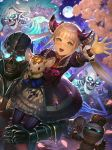 1girl :d bangs blonde_hair blurry blurry_foreground brown_eyes commentary_request crown depth_of_field double_bun dress dutch_angle eyebrows_visible_through_hair flower full_moon gauntlets glowing glowing_eyes isaroishin juliet_sleeves light_brown_hair long_hair long_sleeves looking_at_viewer luna_(shadowverse) moon mordecai_the_duelist mummy night night_sky object_hug open_mouth outdoors outstretched_arm petals pink_flower puffy_sleeves purple_dress shadowverse side_bun sidelocks sitting_on_shoulder skeleton sky smile solo star_(sky) starry_sky stuffed_animal stuffed_toy twintails upper_teeth very_long_hair