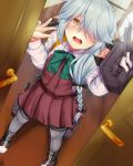 1girl ahoge bangs black_ribbon blush bow bowtie braid brown_eyes cannon collared_shirt day door dress em_s embarrassed grey_hair hair_over_eyes hair_over_one_eye hair_ribbon hallway hamanami_(kantai_collection) highres holding holding_weapon kantai_collection long_hair long_sleeves machinery open_door open_mouth pantyhose ribbon rigging school_uniform shirt sidelocks single_braid sleeveless solo tearing_up thigh_strap torpedo_launcher turrets w weapon white_shirt