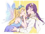 2girls ^_^ bang_dream! blonde_hair blue_dress boutonniere cape closed_eyes dress face-to-face fairy_wings formal hands_together head_wreath long_hair long_sleeves low_ponytail multiple_girls open_mouth parted_lips purple_hair re_ghotion red_eyes seta_kaoru shawl shirasagi_chisato smile sparkle suit white_cape white_suit wings yuri